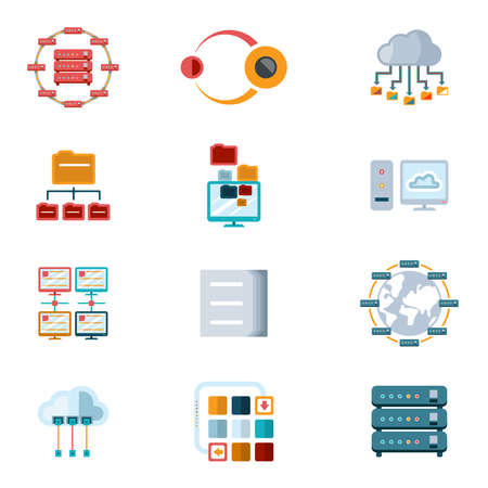 Vector Assorted Colored Computer Networking Icons with Files Servers and Computer Devices Isolated on White Background. Ilustração Vetorial
