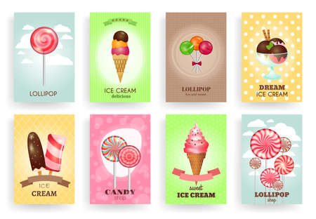 Sweets, lollipops and ice creams. Brochures vector templates set. Dessert and candy, cream and chocolate, design delicious tasty illustration