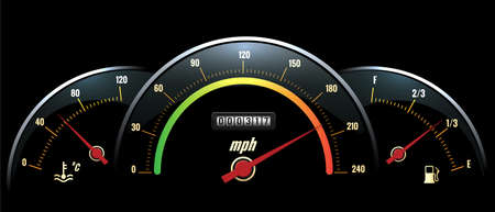 Vector Speedometer Panel. Black panel temperature reading, speed and fuel with brightly colored scales. Vector illustration
