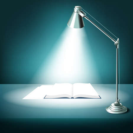 Opened book on table with desk lamp. Textbook literature, study and light, illuminated work place, vector illustration