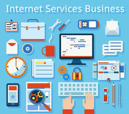 Colored Internet Service Business Concept Graphic Design on Light Blue Background.