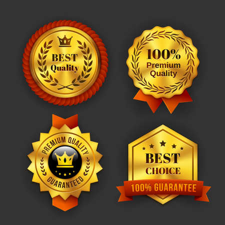 Assorted Gold Guaranteed Business Labels Isolated on Gray Background.