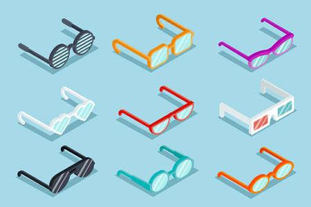 Isometric vector glasses set. Sunglass and lens, object optical, eyeglass illustration