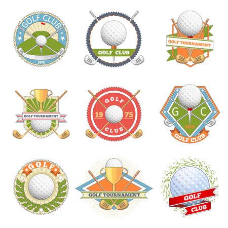 Golf club logo set. Golf labels and badges. Logotype competition or game, tournament symbol, vector illustration Logo