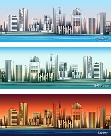 Set of city skylines in morning, afternoon and evening backgrounds seamless. Twilight and business district. Vector illustration
