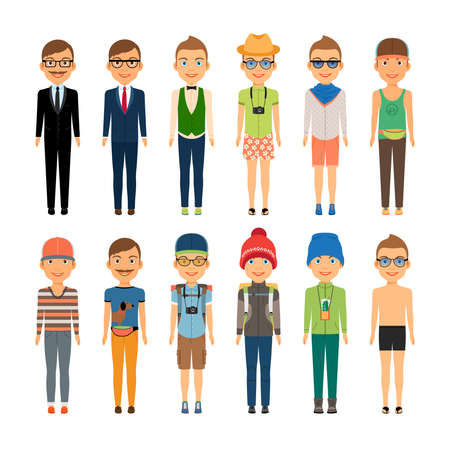 Various Cute Cartoon Boys in Assorted Clothing Styles - Business Beach Travel and Casual Fashion - Isolated on White Background Vettoriali