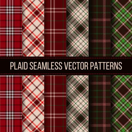 Lumberjack plaid, buffalo check, gingham seamless patterns set. Fashion textile cloth, plaid fabric, vector illustration