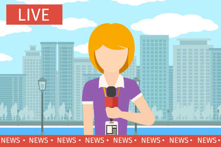 News reporter woman. Journalist media, tv and microphone, television broadcasting, professional communication vector illustration