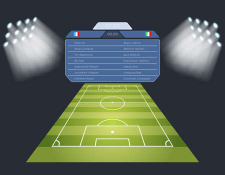 Soccer field with scoreboard. Lighting sport football game stadium. Vector illustration Vektorgrafik