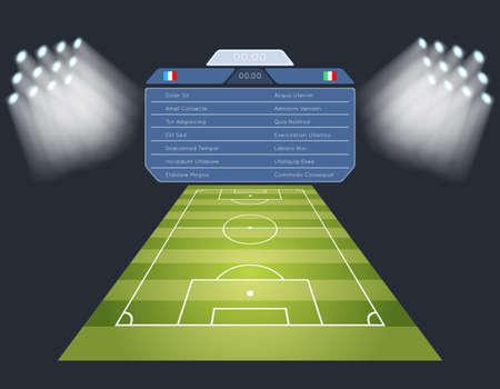 Soccer field with scoreboard. Lighting sport football game stadium. Vector illustration Vetores