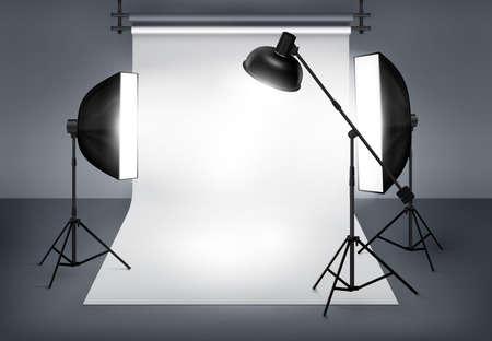 Photo studio with lighting equipment flash spotlight and softbox. Vector illustration