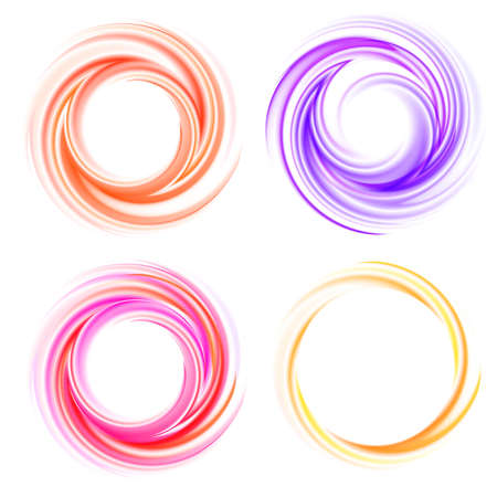 Vector swirling backdrops set. Color spiral, effect curl, shiny and bright, twirl and movement illustration Vector Illustration