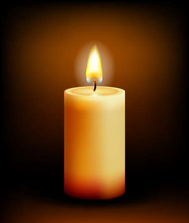 Vector Church candle light on black background