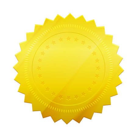 Vector Blank gold token seal isolated on white background.