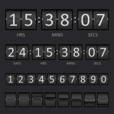 Vector Countdown Timer and Scoreboard Numbers. Векторная Иллюстрация
