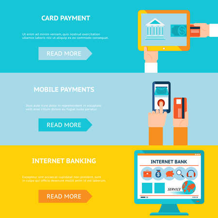 Internet banking, card and mobile payments. Contactless internet transaction. Vector illustration