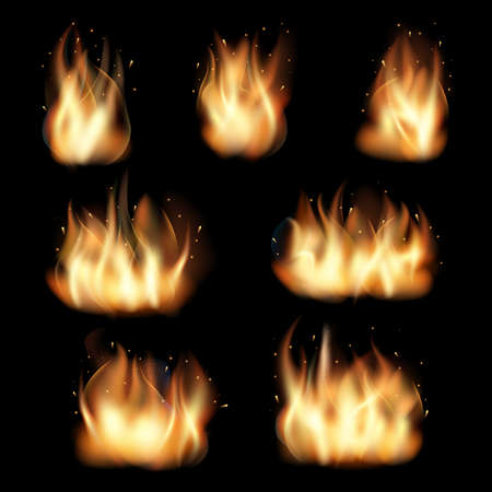 Fire flames set on black background. Burn heat, flame and wildfire, energy vector illustration