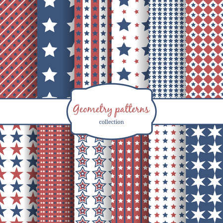 Set of stars and stripes pattern seamless patterns. Row, line and diagonal and geometry. Vector illustration