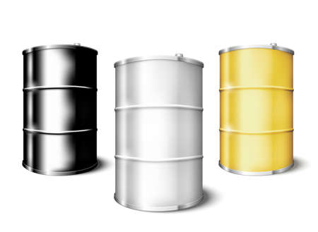 Metal blank drum barrels set isolated on white background