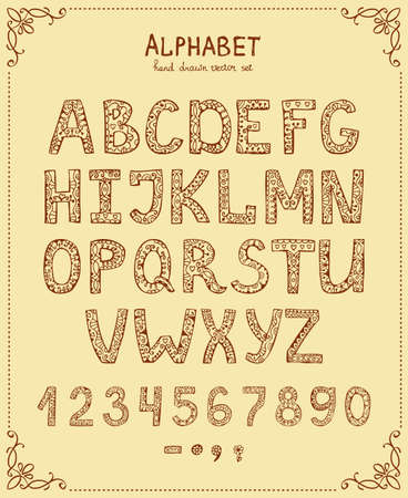 Handwriting Alphabet, Vector Hand Drawn Font in vintage style