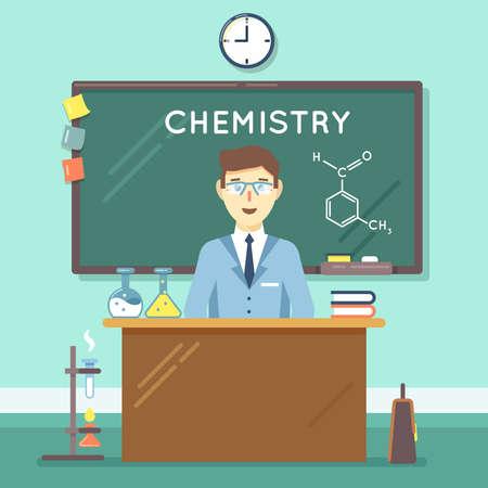 Chemistry teacher in classroom. School science study, university man research. Vector illustration flat education background Vecteurs