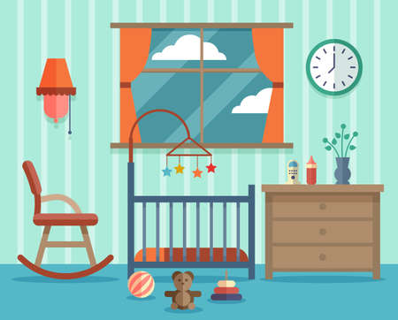 Child room for the newborn baby. Rocking chair, design childhood. Vector illustration flat