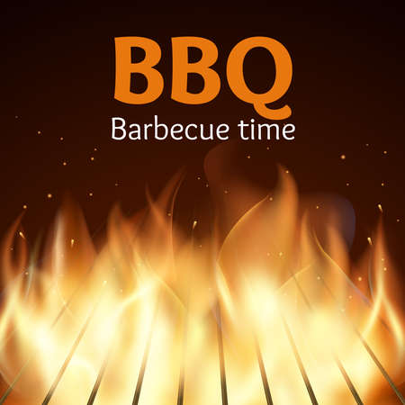 Grille with fire. BBQ poster. Flame for barbecue, cooking grilled, vector illustration Vektorové ilustrace