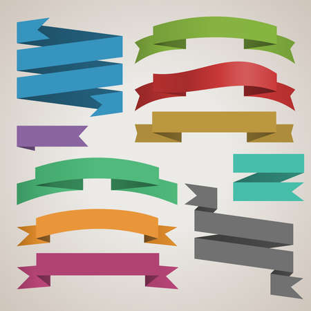 colorful vector set of retro ribbons for design template