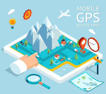 Isometric mobile GPS navigator. Flat map with notation and markers. Vector illustration