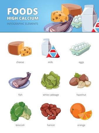 High calcium and vitamins foods. Haricot hazelnut cabbage, egg fish broccoli orange cheese. Vector infographic illustration Vettoriali