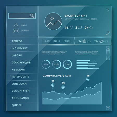 Glass website elements templates vector set. Element design button, internet chart and graph illustration