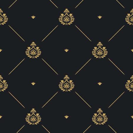 Royal wedding pattern seamless background, line and golden element on black, vector illustration
