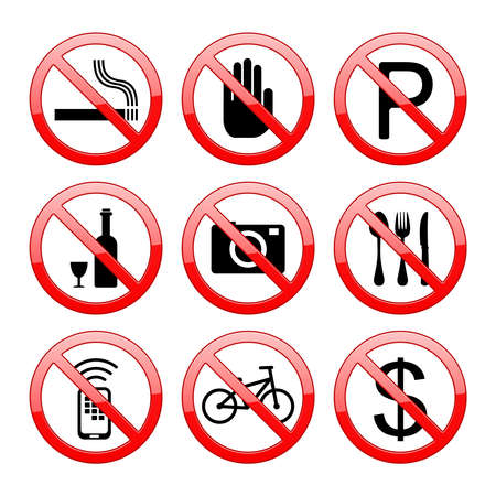 Vector No Sign Stop Sign: no smoking no entry no money no parking