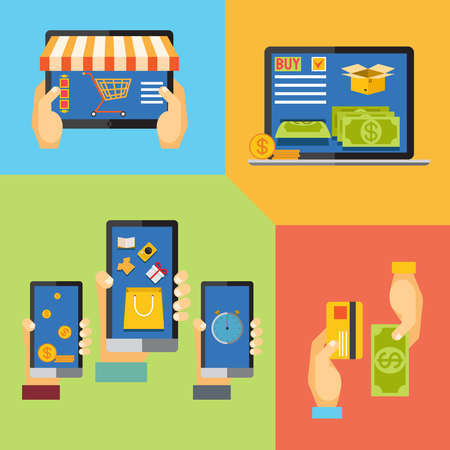online shopping, icons for online shop, add to bag, payment methods