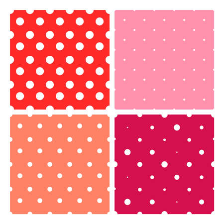 Seamless Polka Dot Pattern on red background