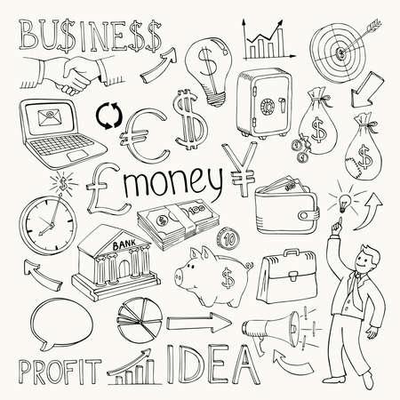 Business doodles, hand doodle vector illustration on white
