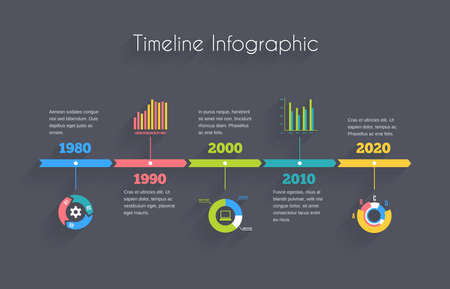 Vector Timeline Infographic template with charts and text