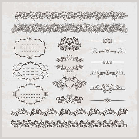 Set of stylish elegant calligraphic vintage vector page decoration borders frames and hearts with floral elements Ilustración de vector