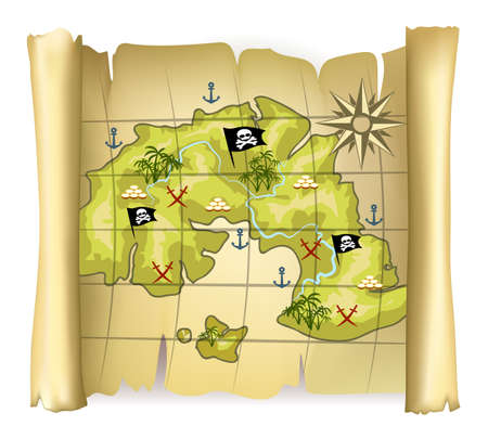 Vintage pirate map or treasure map with island and wind rose