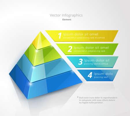 pyramid infographic design template, vector illustration