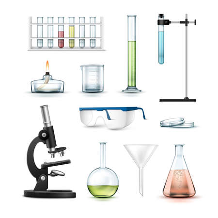 Vector set of chemical laboratory equipment test tubes, flasks with colored liquid, beaker, glasses, petri dish, alcohol burner, optical microscope and funnel Isolated on white background Ilustração Vetorial