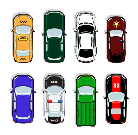 Police car and taxi, sports car and sedan icons. Transport sign, auto, drive and symbol, vector illustration