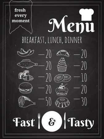 Lunch or Dinner Food Menu Poster Design Written on Chalkboard