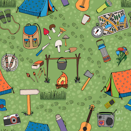 Seamless camping background vector pattern with tents a campfire radio mushrooms backpack binoculars map and guitar scattered on a green grass background square format