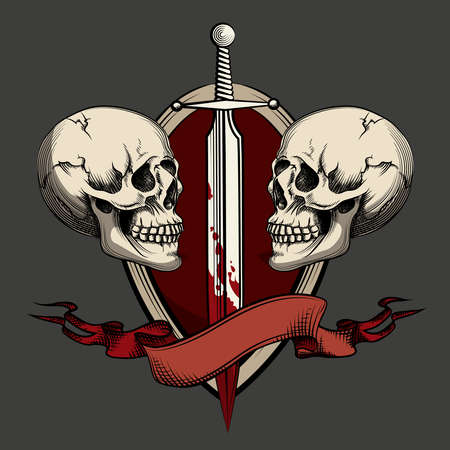 Two skulls with sword and ribbon. Template for tattoo and labels. Vector illustration