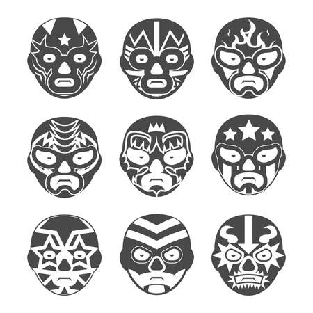 Lucha libre, mexican wrestling masks icons set. Character face, person and costume, fighter extreme, vector illustration