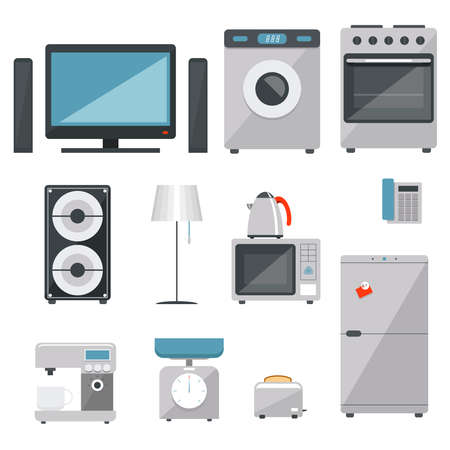 vector household appliances icons set on white background