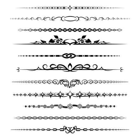 Chapter dividers set. Element retro decoration vintage calligraphic, vector illustration