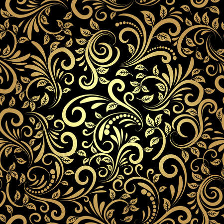 vector golden floral seamless pattern in retro style