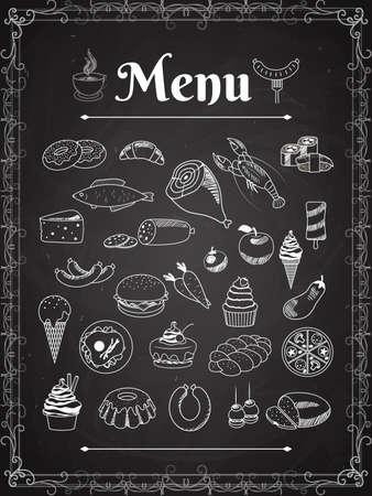 vector food menu elements on chalk board Vecteurs